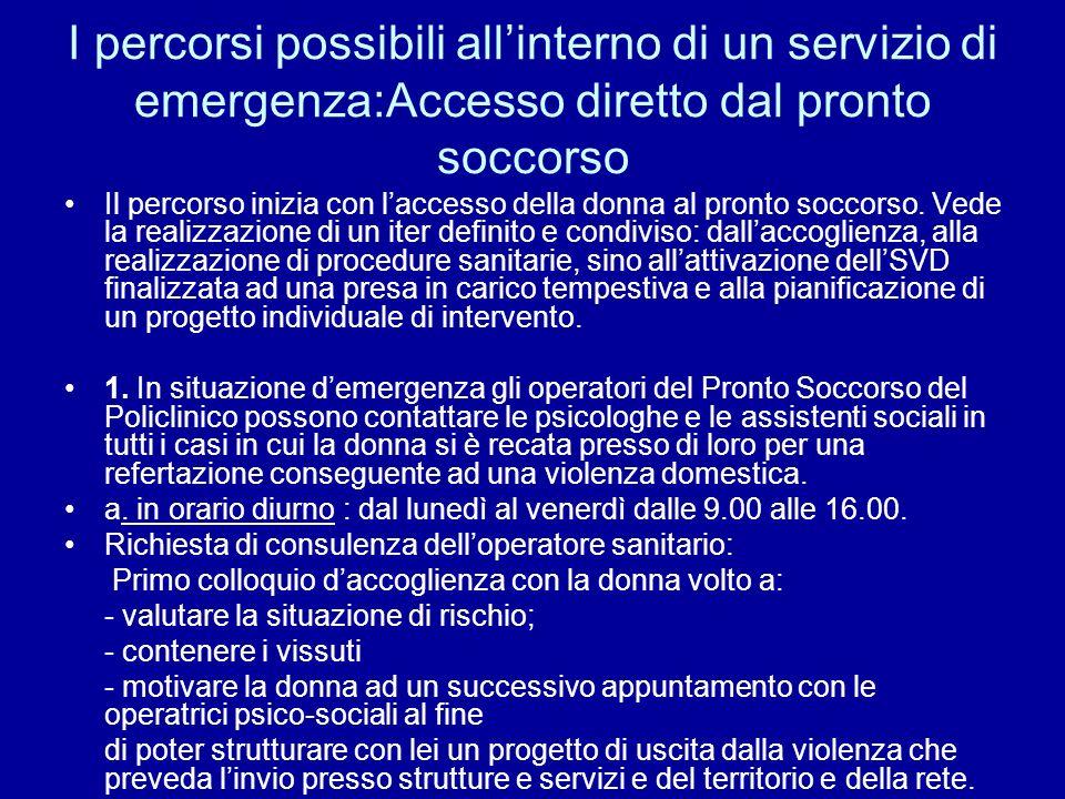 I percorsi possibili all'interno di un servizio di emergenza:Accesso diretto dal pronto soccorso