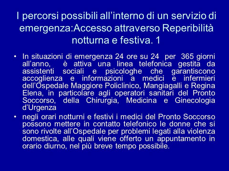I percorsi possibili all'interno di un servizio di emergenza:Accesso attraverso Reperibilità notturna e festiva. 1