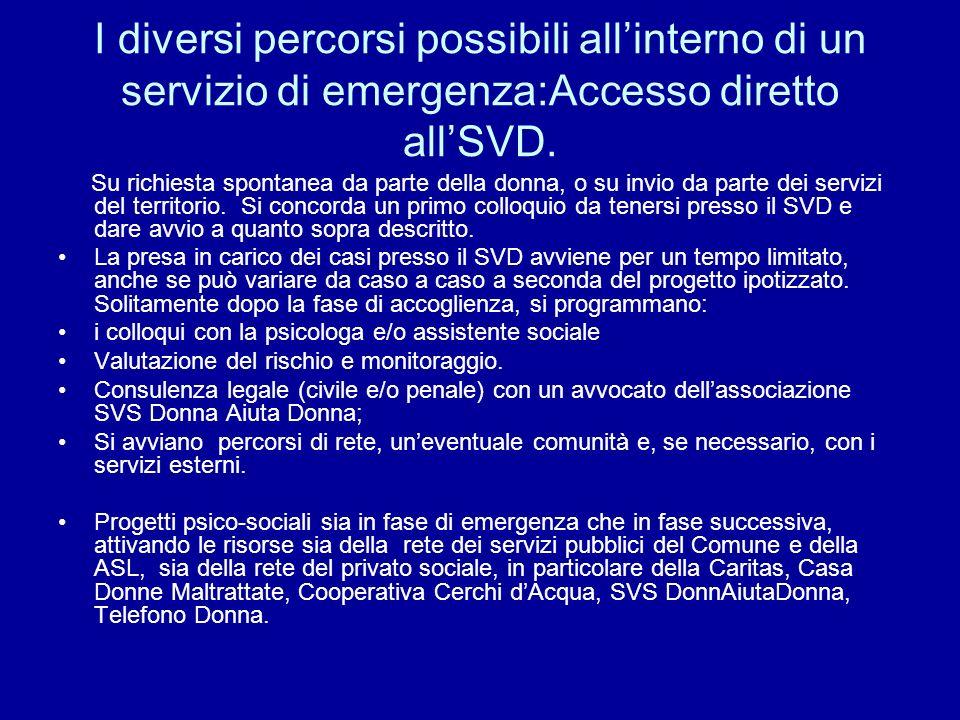 I diversi percorsi possibili all'interno di un servizio di emergenza:Accesso diretto all'SVD.