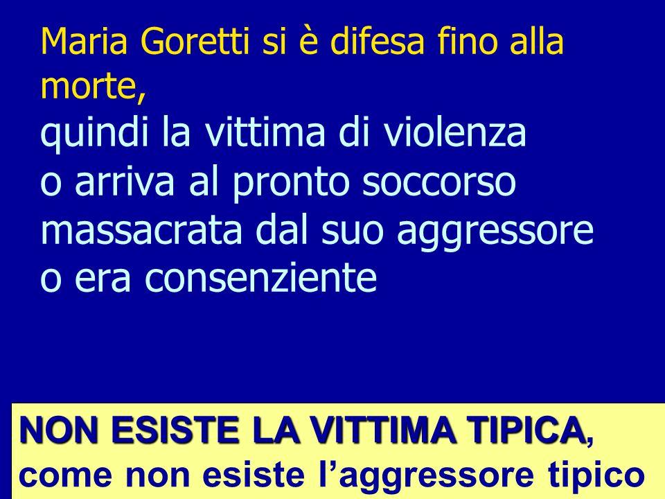 Maria Goretti si è difesa fino alla morte, quindi la vittima di violenza o arriva al pronto soccorso massacrata dal suo aggressore o era consenziente