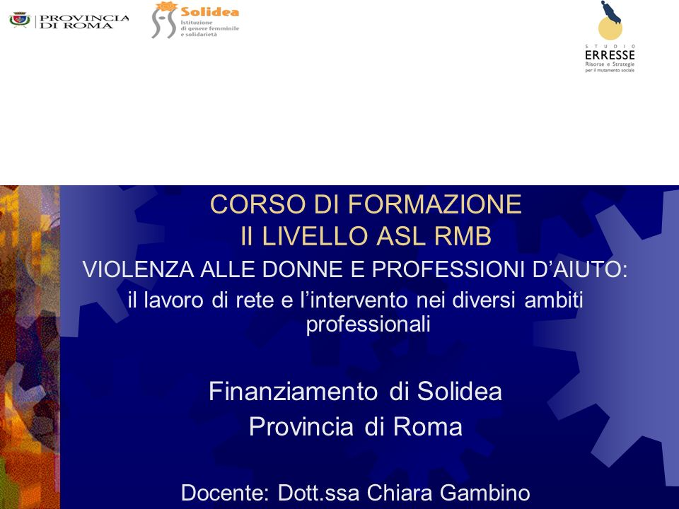 CORSO DI FORMAZIONE II LIVELLO ASL RMB