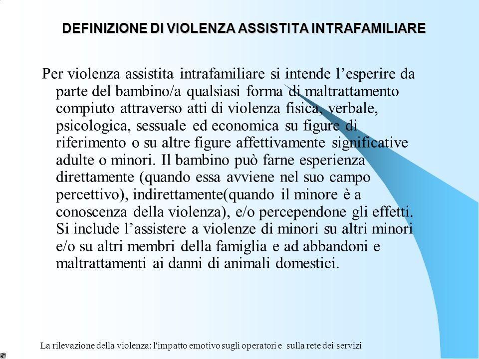 DEFINIZIONE DI VIOLENZA ASSISTITA INTRAFAMILIARE