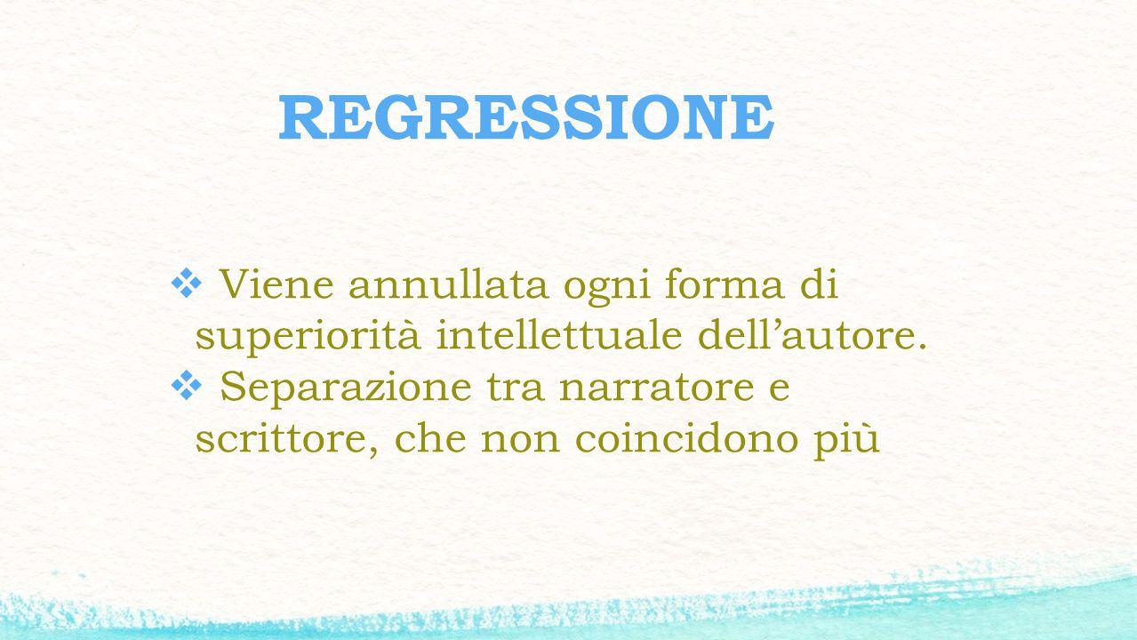 REGRESSIONE Viene annullata ogni forma di superiorità intellettuale dell'autore.