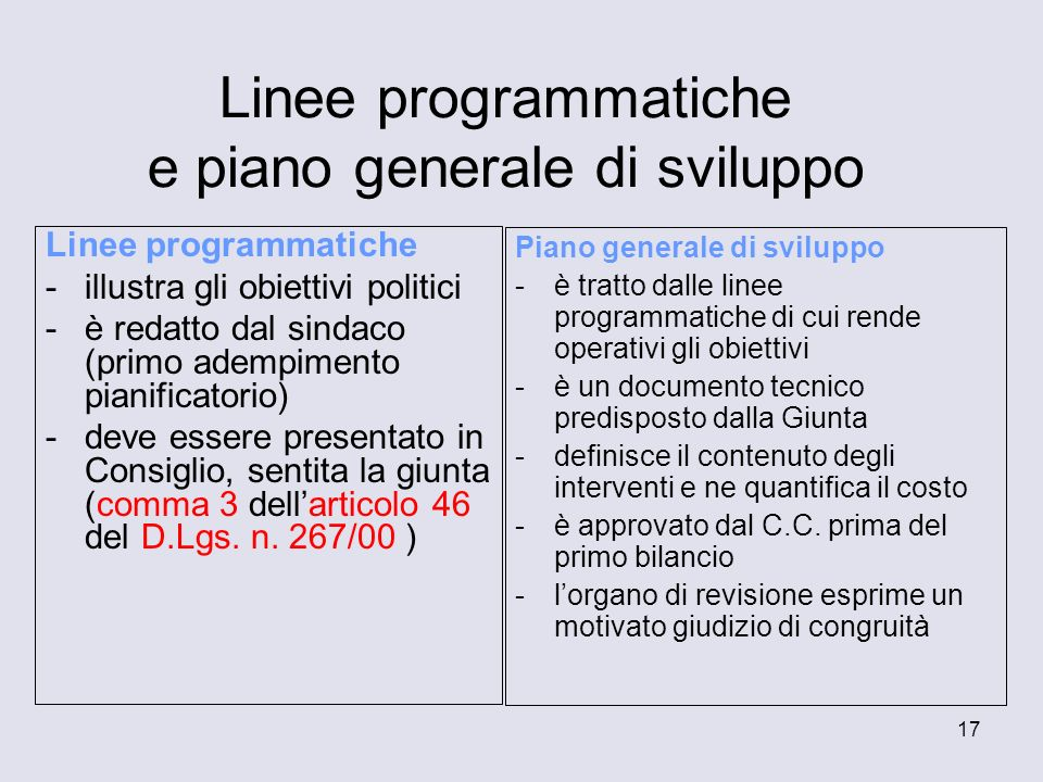 Linee programmatiche e piano generale di sviluppo