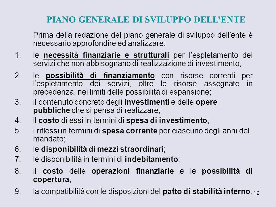 PIANO GENERALE DI SVILUPPO DELL'ENTE