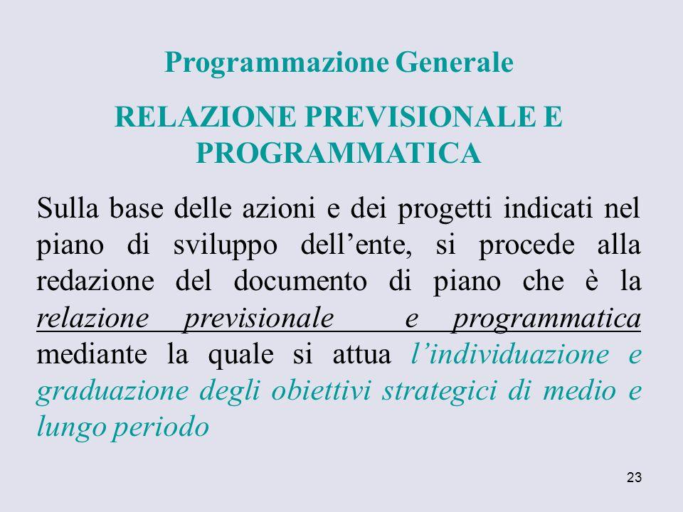 Programmazione Generale RELAZIONE PREVISIONALE E PROGRAMMATICA