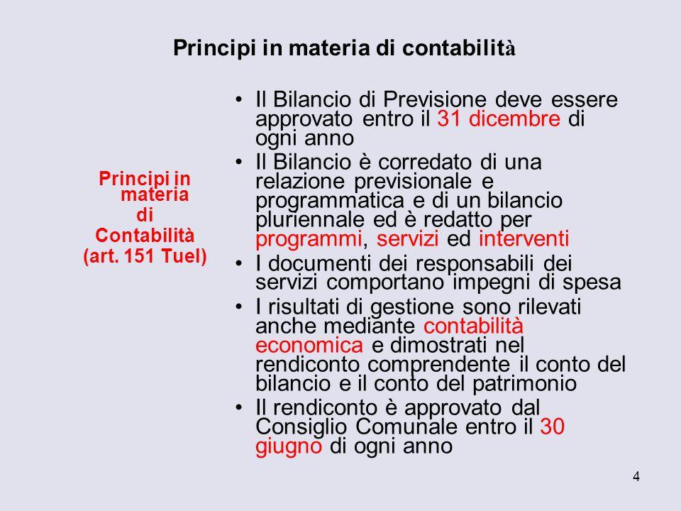 Principi in materia di contabilità