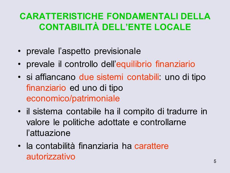CARATTERISTICHE FONDAMENTALI DELLA CONTABILITÀ DELL'ENTE LOCALE
