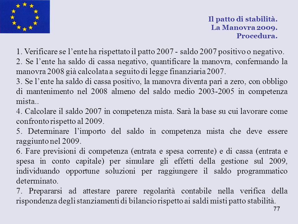 Il patto di stabilità. La Manovra 2009. Procedura.