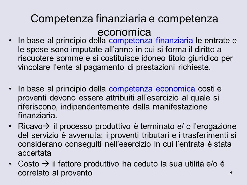 Competenza finanziaria e competenza economica