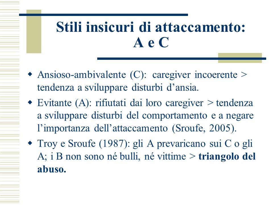 Stili insicuri di attaccamento: A e C