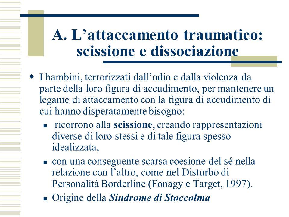 A. L'attaccamento traumatico: scissione e dissociazione