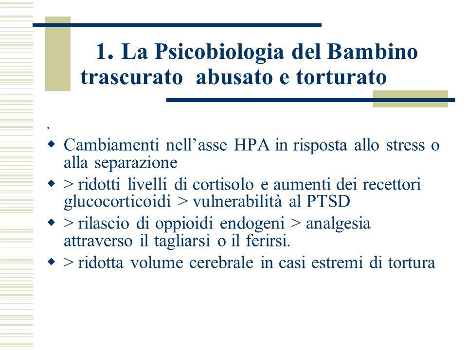 1. La Psicobiologia del Bambino trascurato abusato e torturato