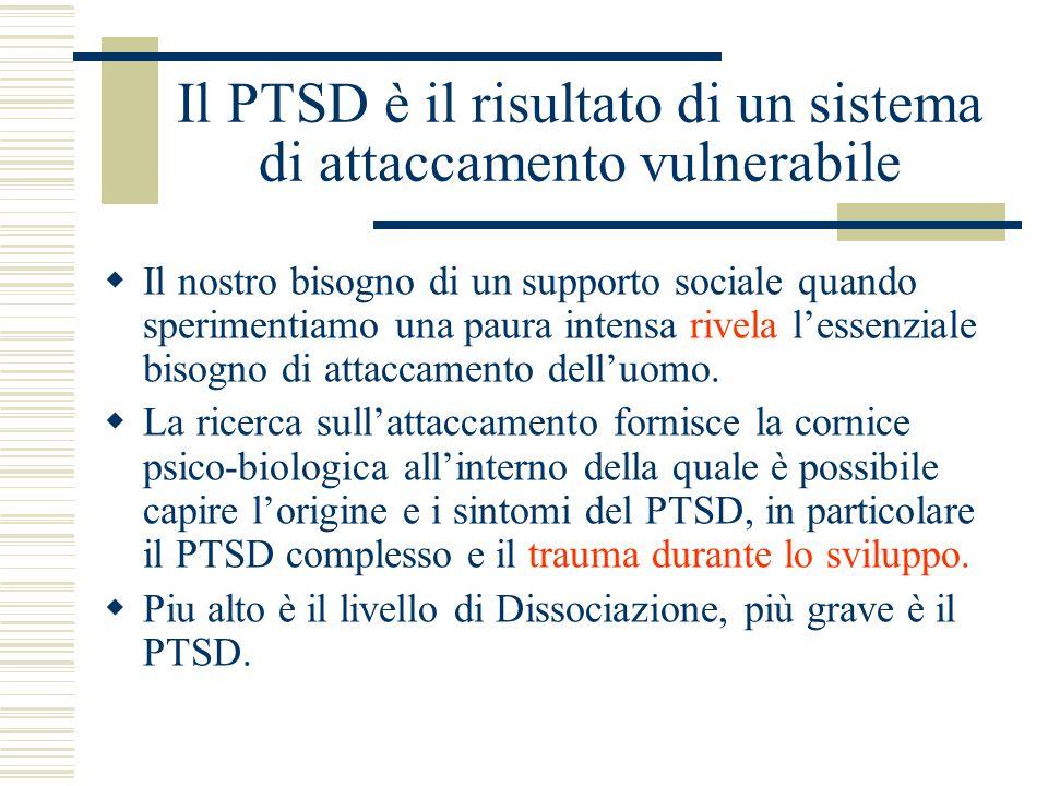 Il PTSD è il risultato di un sistema di attaccamento vulnerabile