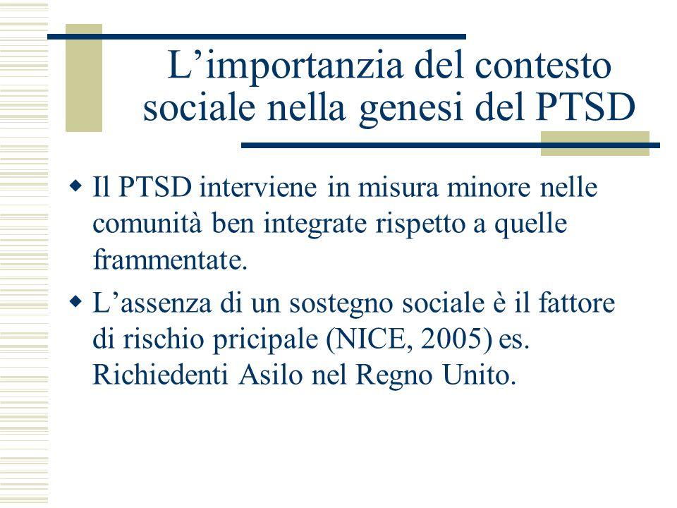 L'importanzia del contesto sociale nella genesi del PTSD