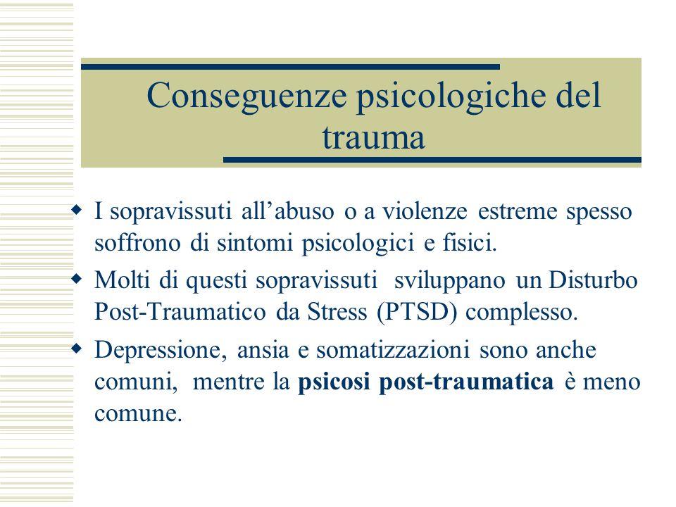 Conseguenze psicologiche del trauma