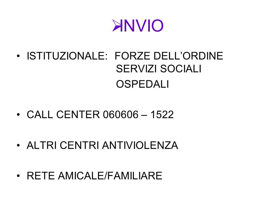 INVIO ISTITUZIONALE: FORZE DELL'ORDINE SERVIZI SOCIALI OSPEDALI