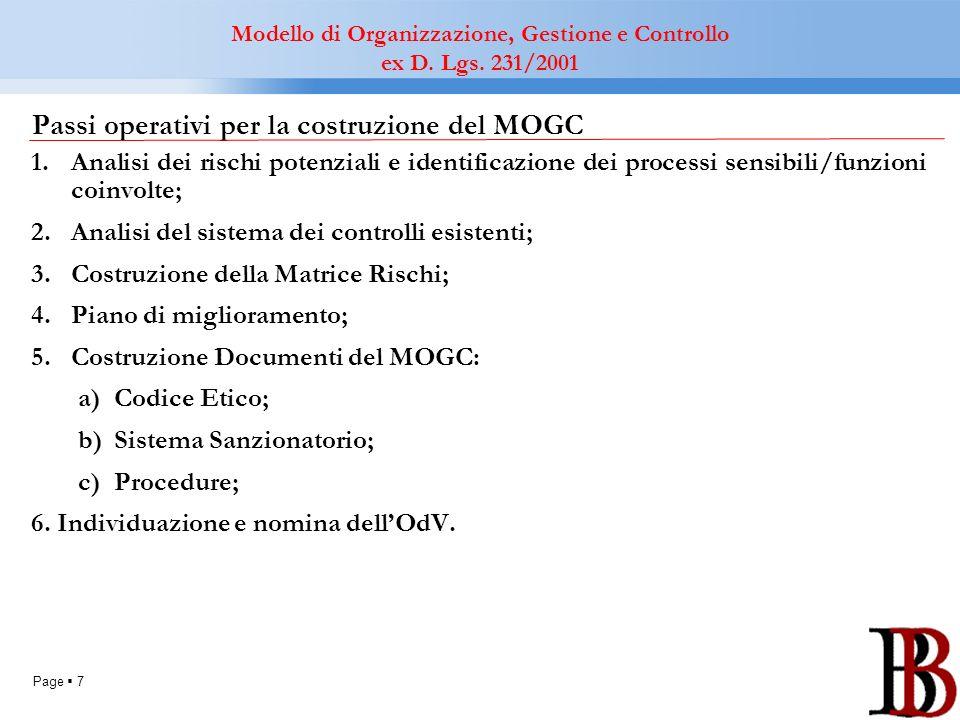 Passi operativi per la costruzione del MOGC