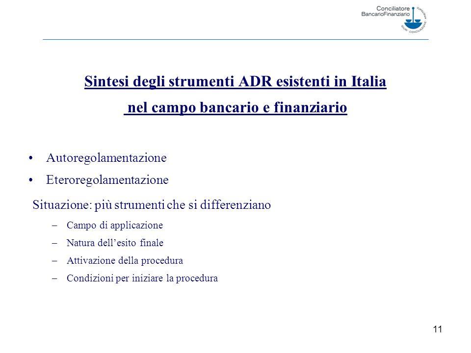 Sintesi degli strumenti ADR esistenti in Italia