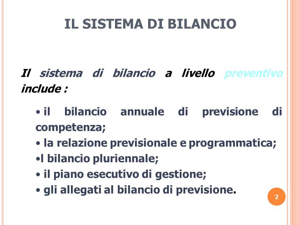 IL SISTEMA DI BILANCIO Il sistema di bilancio a livello preventivo include : il bilancio annuale di previsione di competenza;