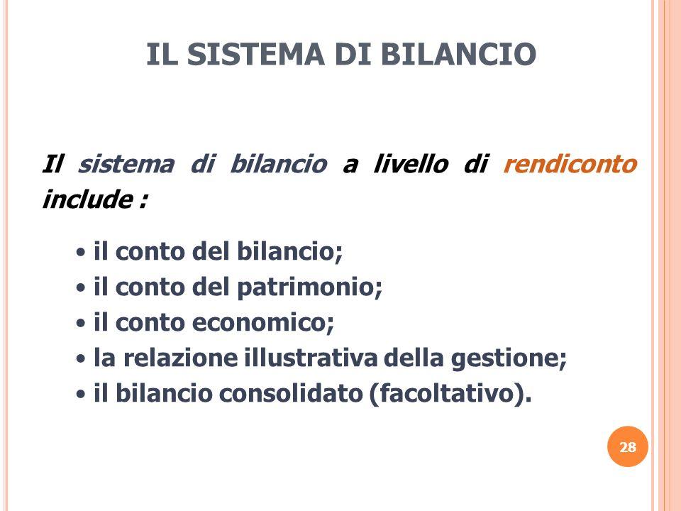 IL SISTEMA DI BILANCIO Il sistema di bilancio a livello di rendiconto include : il conto del bilancio;