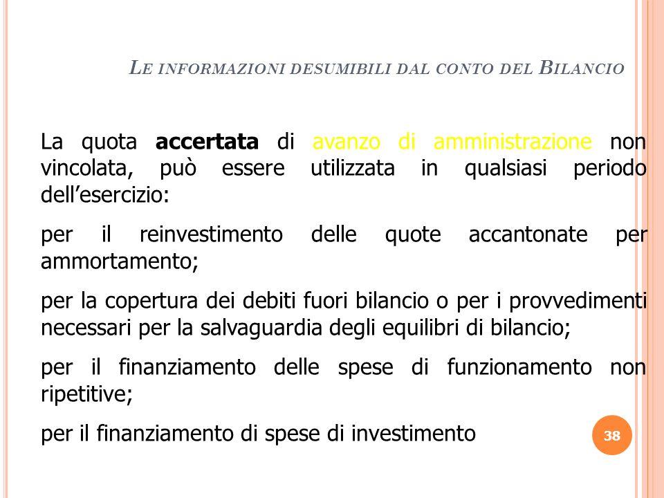 Le informazioni desumibili dal conto del Bilancio