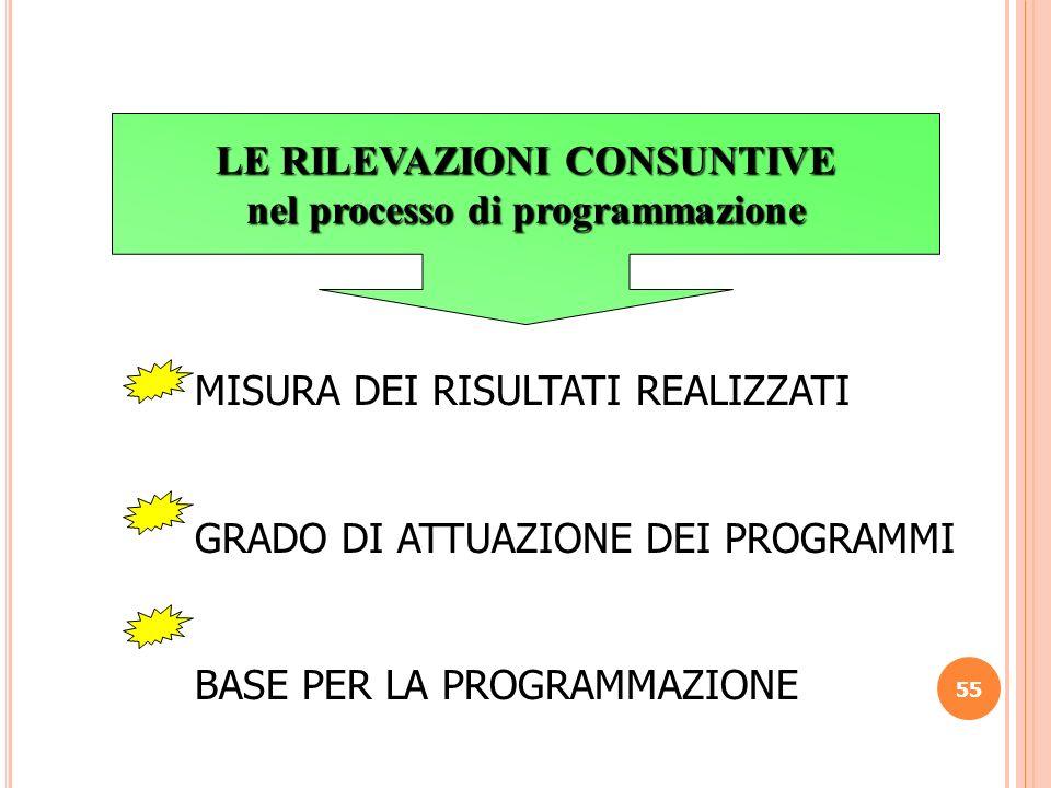 LE RILEVAZIONI CONSUNTIVE nel processo di programmazione