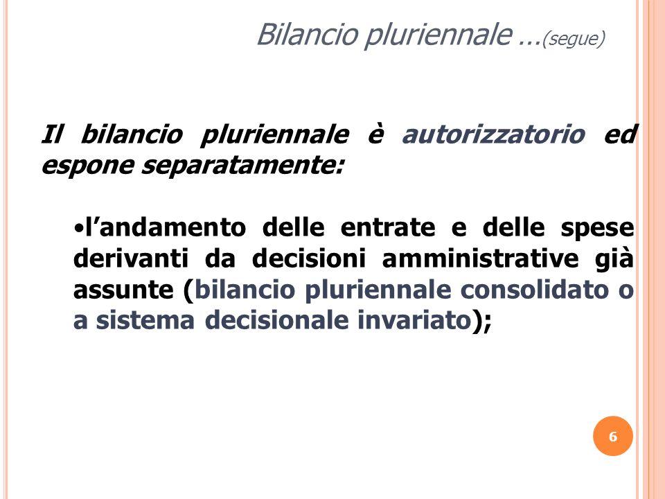 Bilancio pluriennale …(segue)
