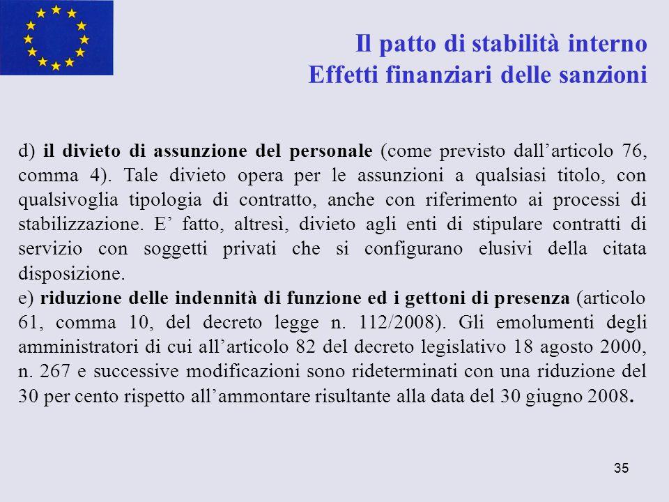 Il patto di stabilità interno Effetti finanziari delle sanzioni