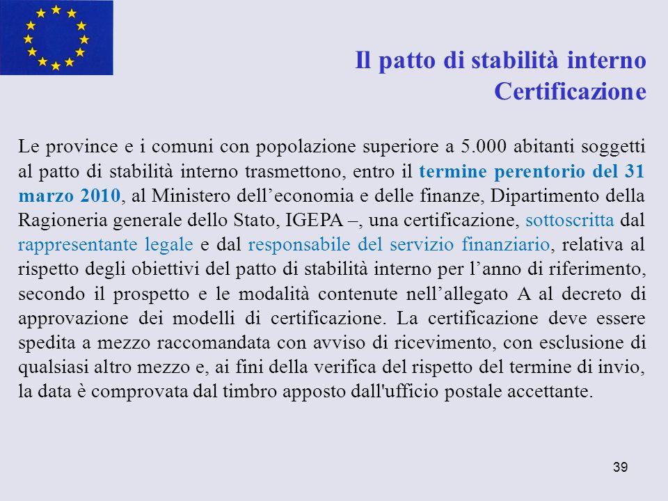 Il patto di stabilità interno Certificazione