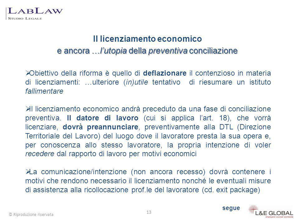 Il licenziamento economico e ancora …l'utopia della preventiva conciliazione