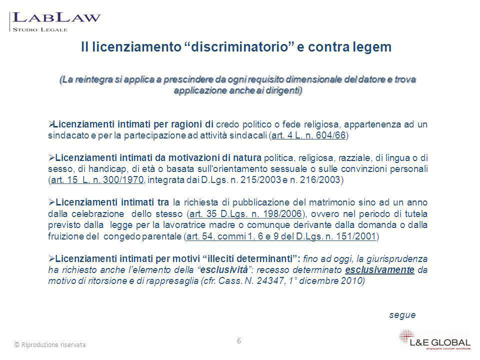 Il licenziamento discriminatorio e contra legem