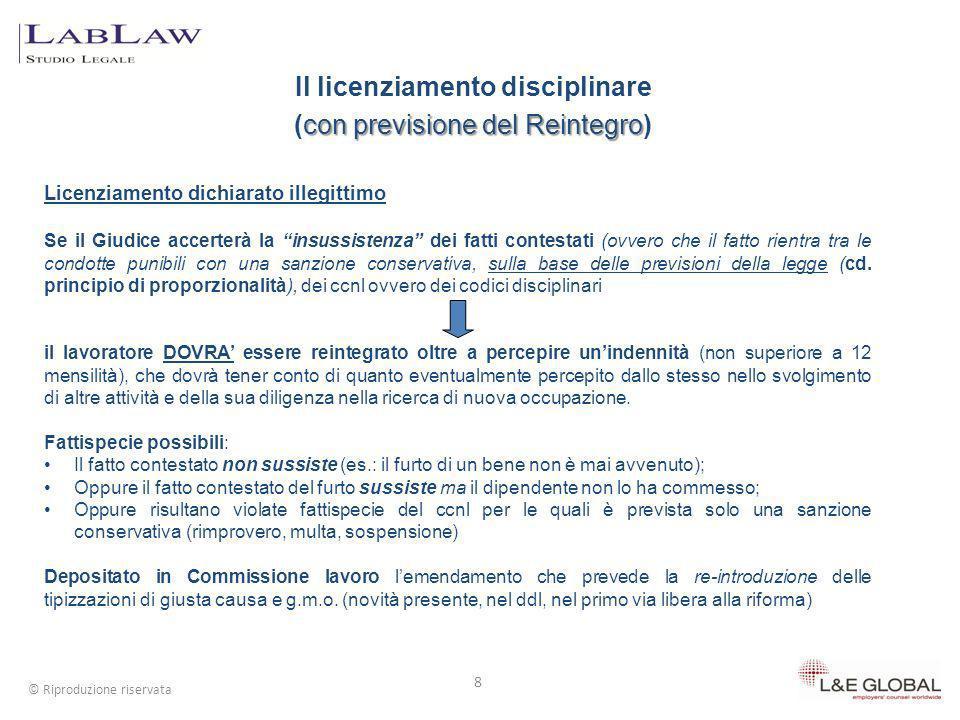 Il licenziamento disciplinare (con previsione del Reintegro)