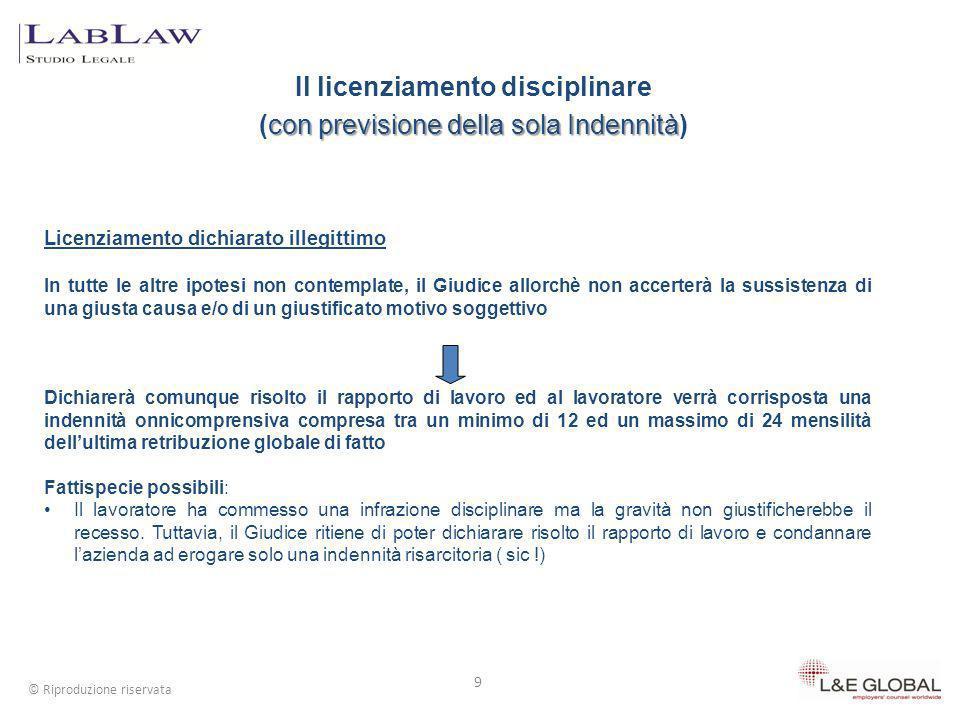 Il licenziamento disciplinare (con previsione della sola Indennità)