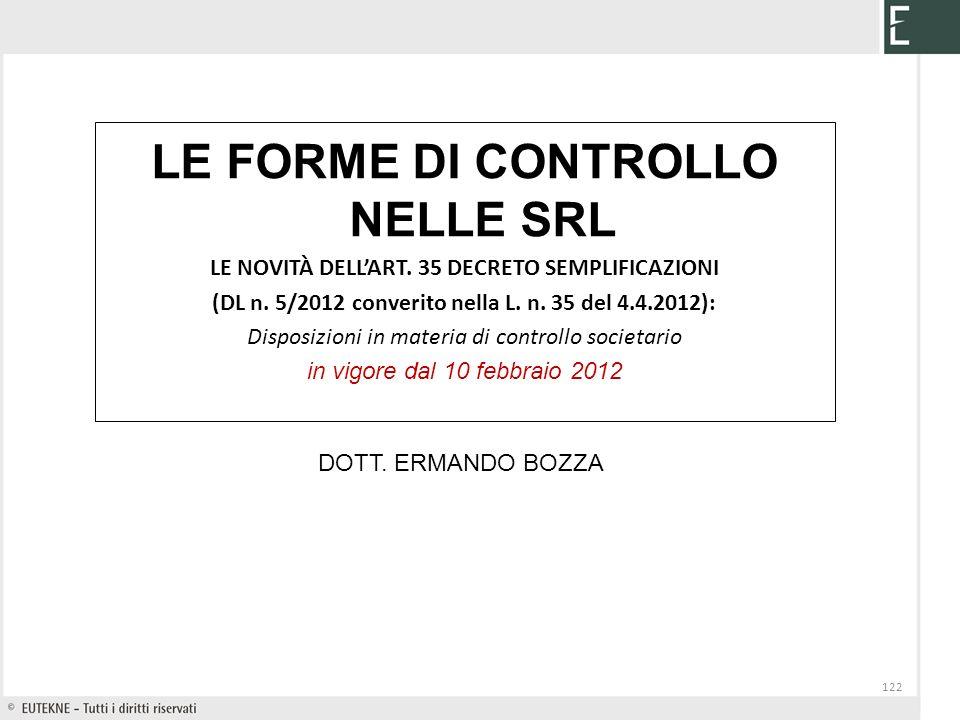 LE FORME DI CONTROLLO NELLE SRL