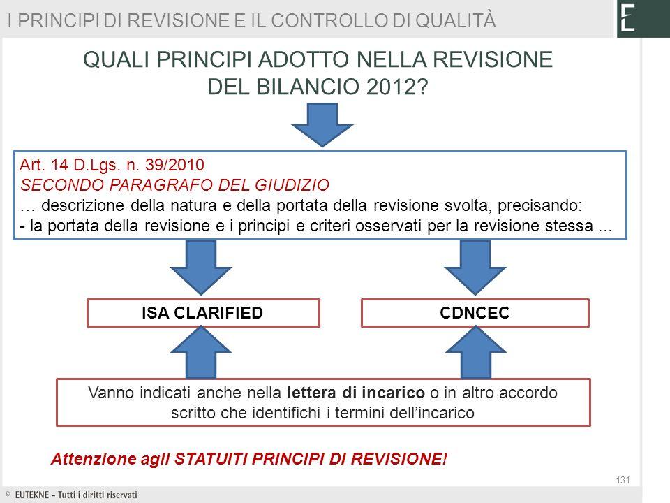 QUALI PRINCIPI ADOTTO NELLA REVISIONE DEL BILANCIO 2012