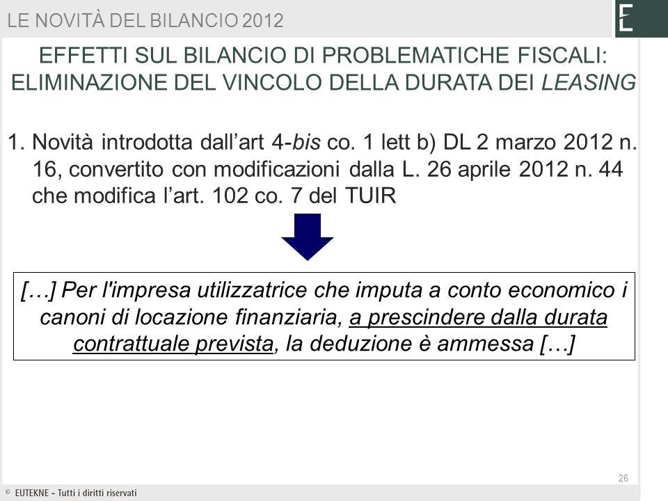LE NOVITÀ DEL BILANCIO 2012 EFFETTI SUL BILANCIO DI PROBLEMATICHE FISCALI: ELIMINAZIONE DEL VINCOLO DELLA DURATA DEI LEASING.