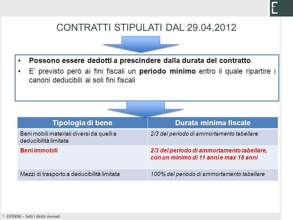 CONTRATTI STIPULATI DAL 29.04.2012