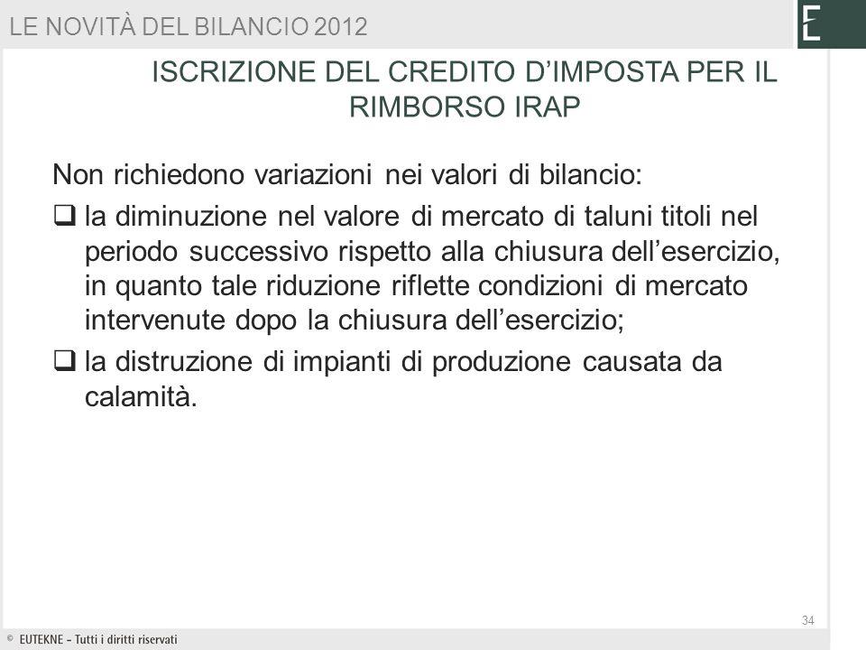 ISCRIZIONE DEL CREDITO D'IMPOSTA PER IL RIMBORSO IRAP