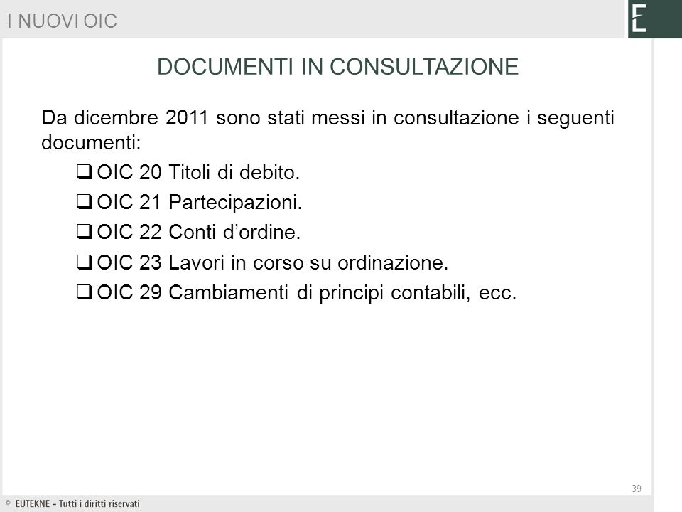 DOCUMENTI IN CONSULTAZIONE
