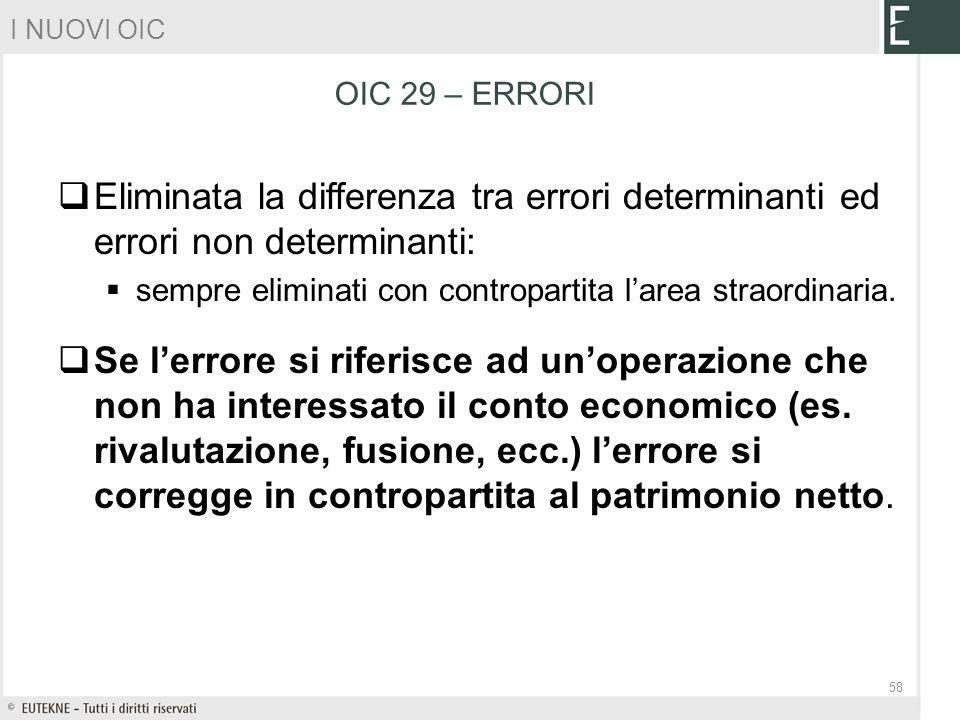 I NUOVI OIC OIC 29 – ERRORI. Eliminata la differenza tra errori determinanti ed errori non determinanti: