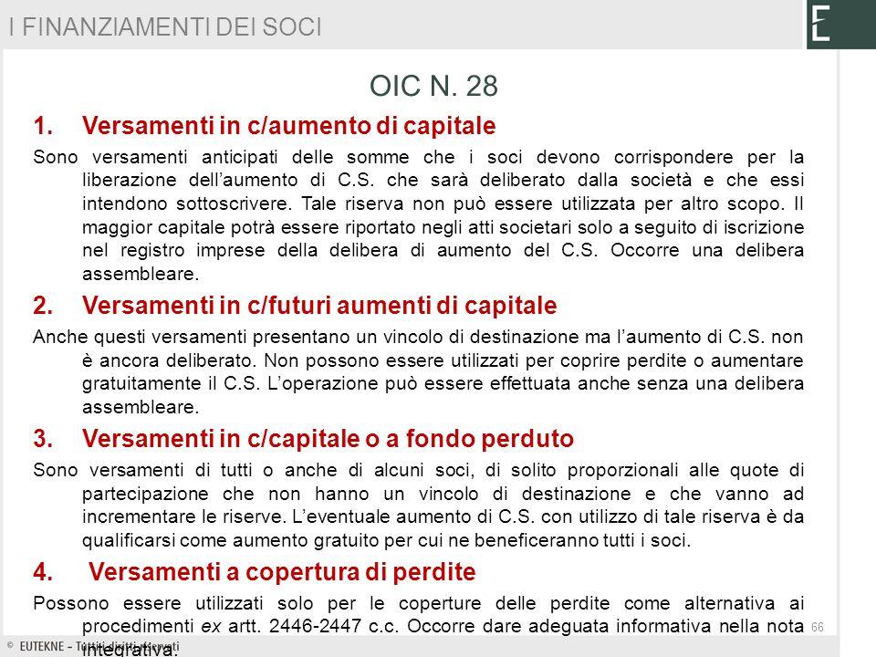OIC N. 28 I FINANZIAMENTI DEI SOCI Versamenti in c/aumento di capitale