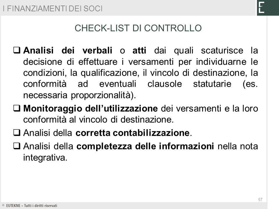 CHECK-LIST DI CONTROLLO