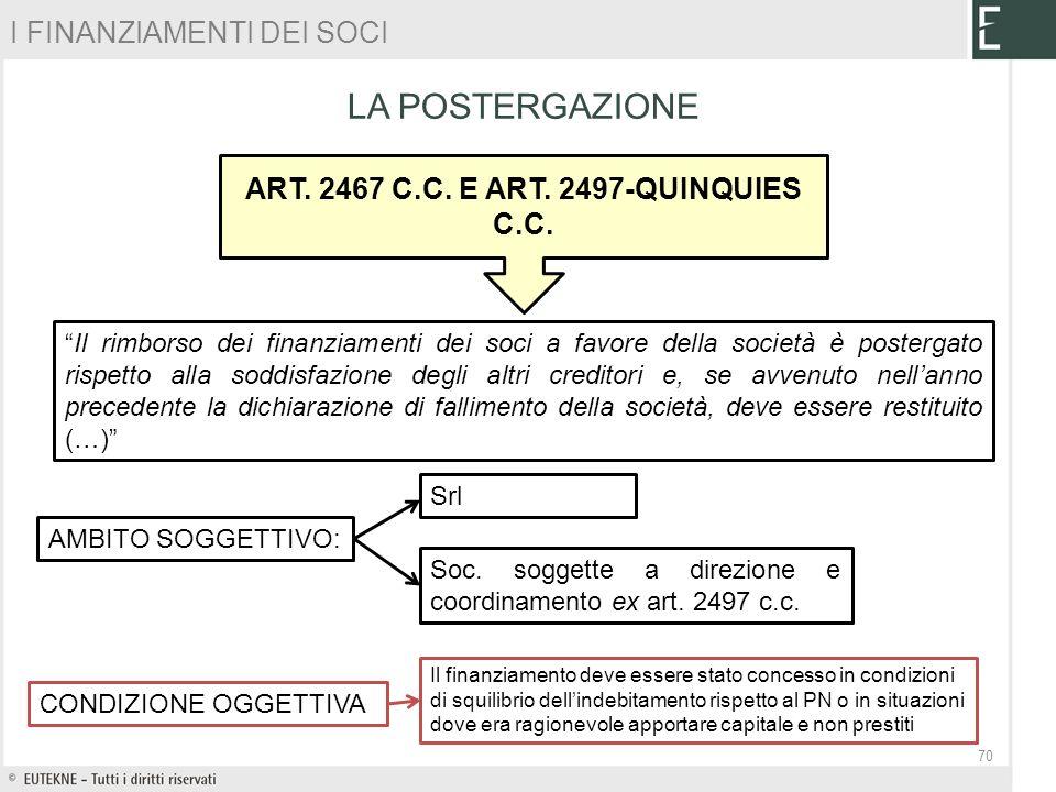 ART. 2467 C.C. E ART. 2497-QUINQUIES C.C.