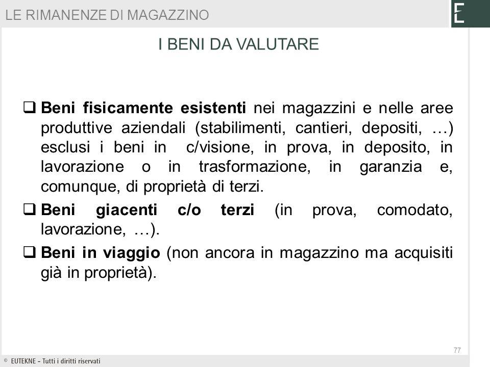 Beni giacenti c/o terzi (in prova, comodato, lavorazione, …).