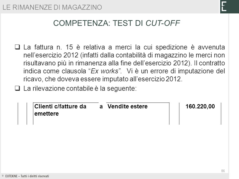 COMPETENZA: TEST DI CUT-OFF