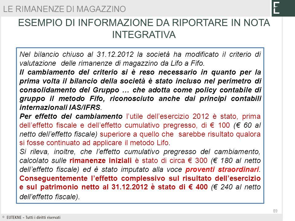 ESEMPIO DI INFORMAZIONE DA RIPORTARE IN NOTA INTEGRATIVA