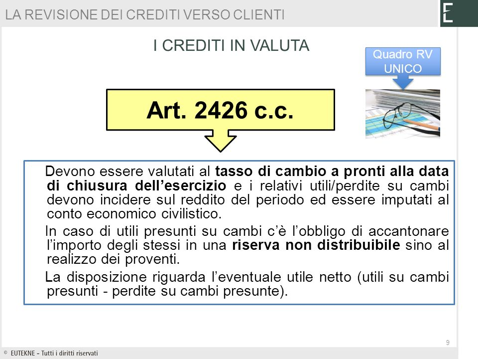 Art c.c. I CREDITI IN VALUTA