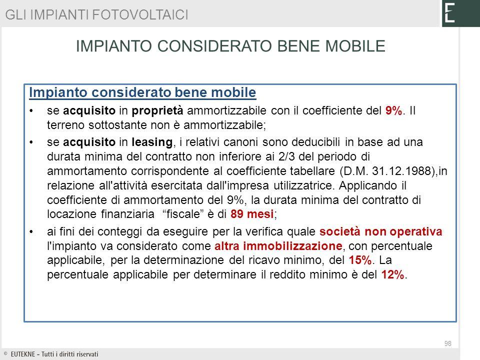 IMPIANTO CONSIDERATO BENE MOBILE