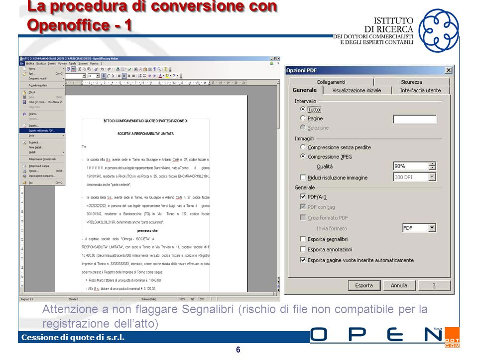 La procedura di conversione con Openoffice - 1